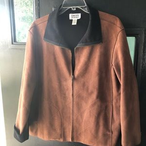 Brown and Black zipper front Jacket